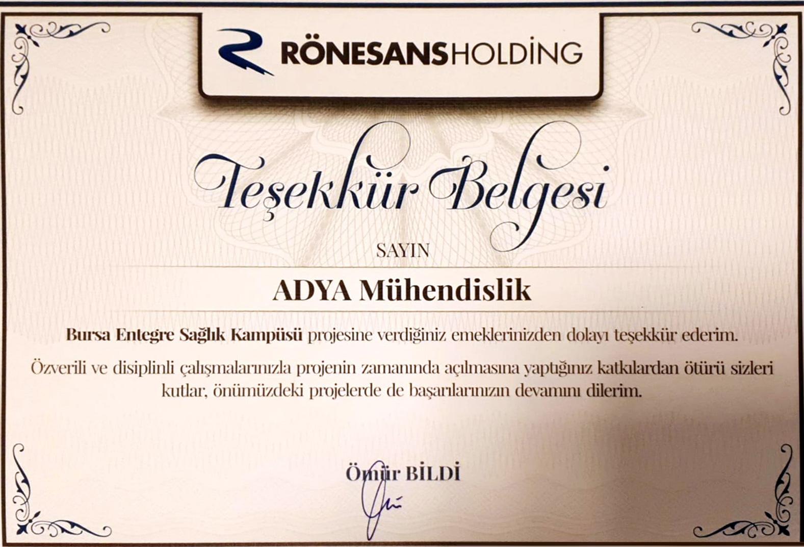 adya-muhendislik-ronesans-holding-tesekkur-belgesi